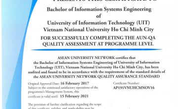 Chương trình Cử nhân Hệ thống Thông tin được công nhận đạt chuẩn chất lượng của mạng lưới các trường đại học Đông Nam Á (AUN)