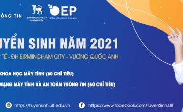 Thông báo về việc tuyển sinh vào đại học Chương trình liên kết với Đại học Birmingham City - Vương Quốc Anh năm 2021