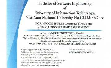 Ngành Kỹ thuật Phần mềm trường ĐH Công nghệ Thông tin đạt chứng nhận chuẩn AUN-QA