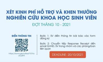 Khoa MMT&TT thông báo đến SV v/v triển khai xét hỗ trợ kinh phí và khen thưởng NCKH sinh viên đợt tháng 10 năm 2021